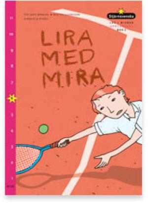 Mira kastar sig efter bollen med ett racket i handen.