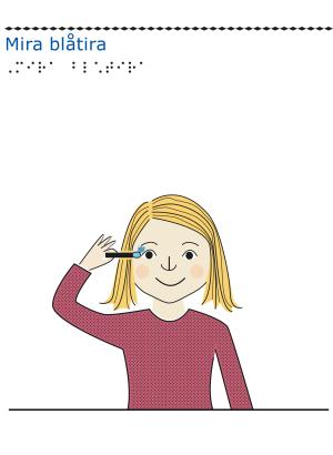 Flicka målar en blåtira vid sitt öga.