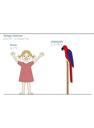 En flicka i röd klänning och en blå och röd papegoja. Vit bakgrund.