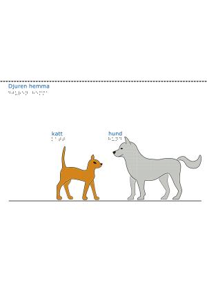 En orange katt och en grå hund mot vit bakgrund.