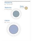Uranus, Neptunus och Pluto mot en vit bakgrund.