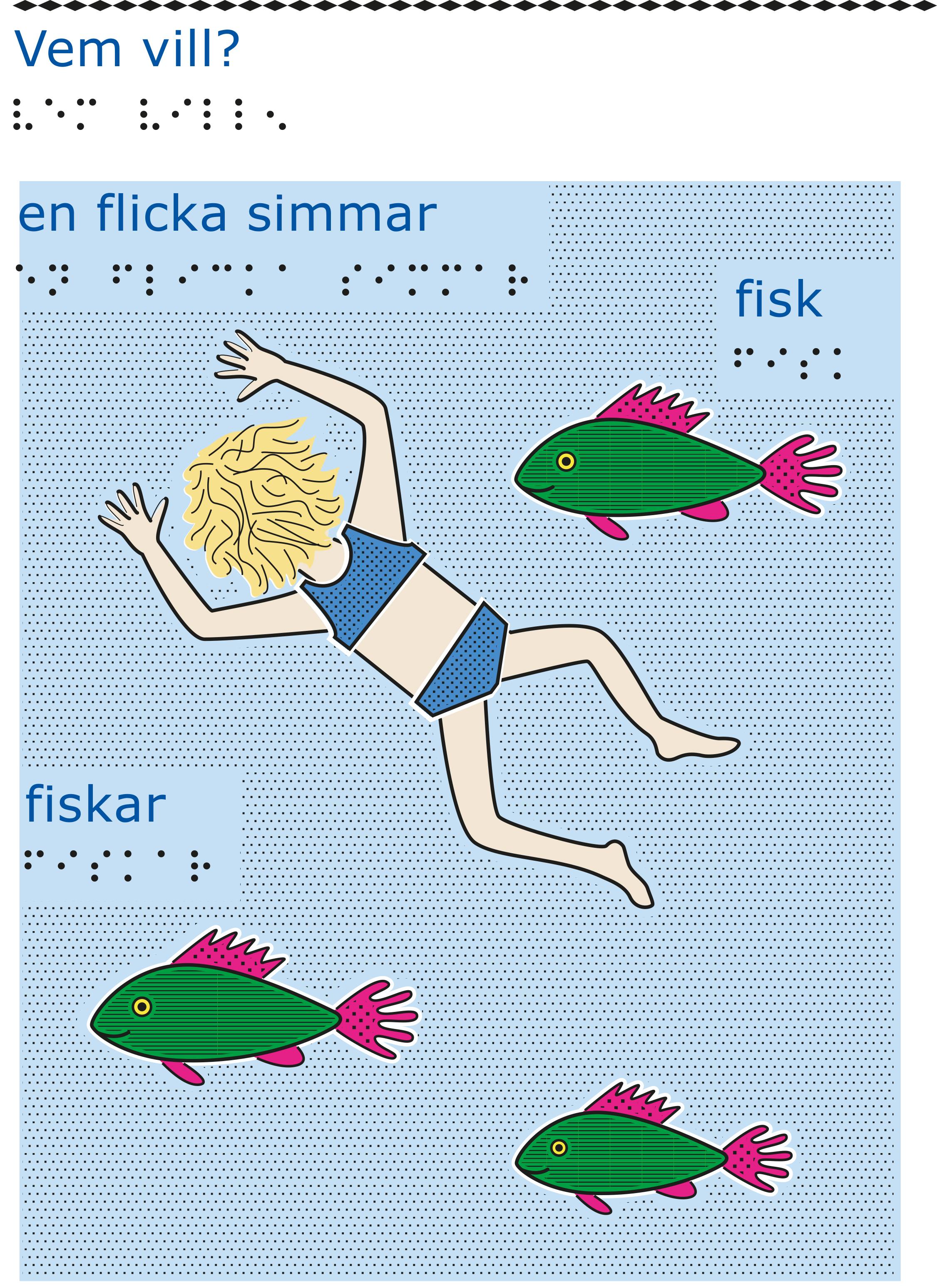 Flicka med blåa badkläder simmar med tre gröna fiskar.