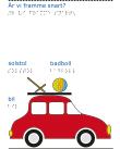 En röd bil med en solstol och en