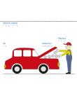 En man med blå hängslen mekar under motorhuven på en röd bil.