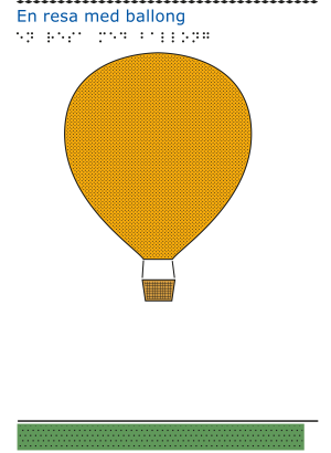 En gul luftballong svävar ovanför en grön gräsplätt mot en vit himmel.