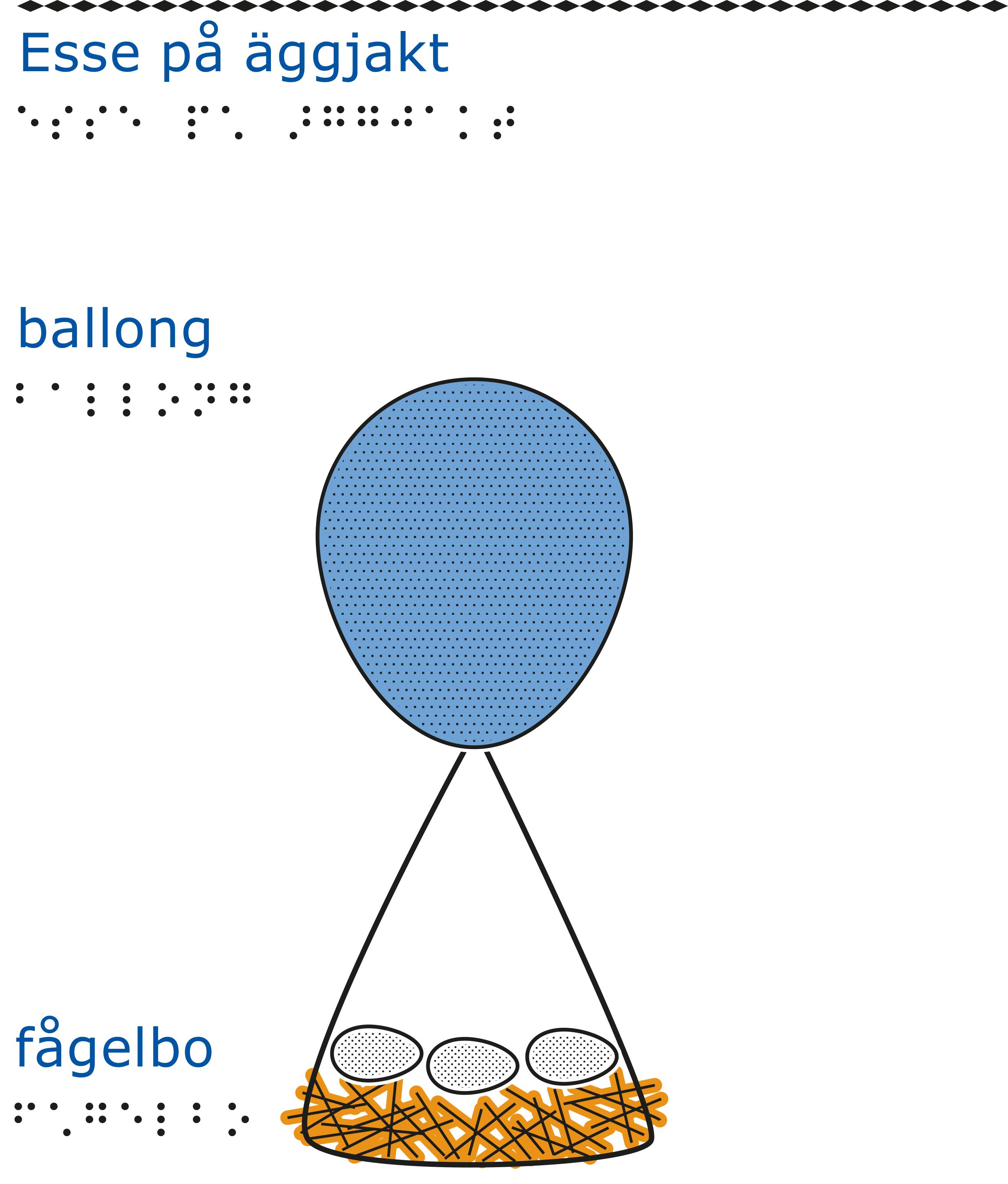 En blå ballong som är fastknuten i ett fågelbo med tre ägg i. Vit bakgrund.