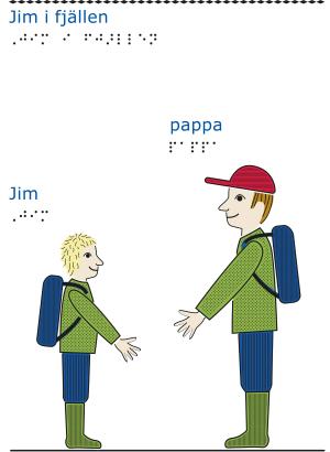 Pojke och hans far står mittemot varandra med armarna utsträcka som för att kramas.