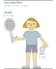 Flicka med blå tröja och blont hår håller i ett racket och en boll.