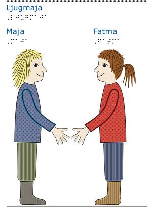Två flickor står mittemot varandra och håller ut varsin hand.