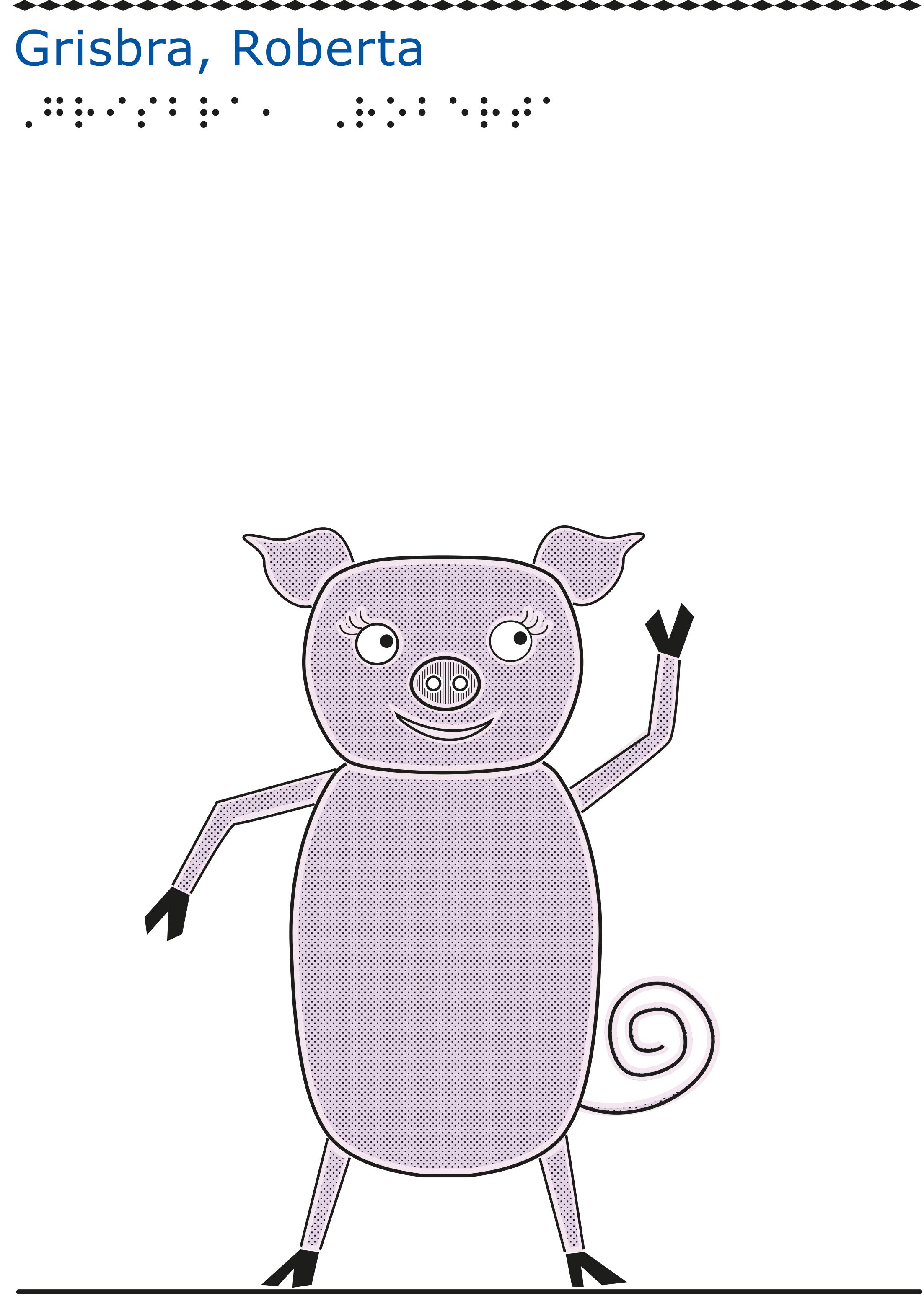 En rosa gris står på bakbenen och vinkar.