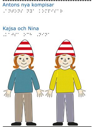 Två flickor med rött hår och rödvita luvor framifrån.