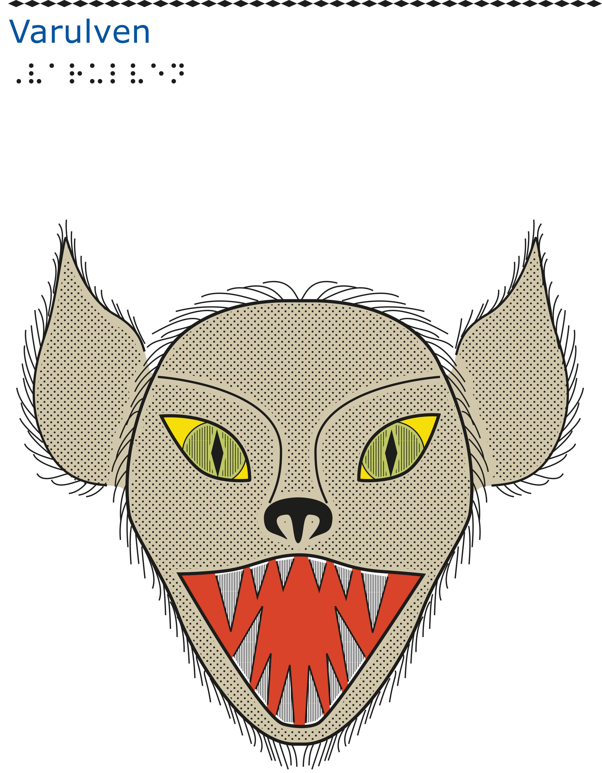 Varulvshuvud framifrån med gröna ögon och öppet gap.