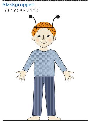 En pojke med rött hår, blå kläder och låtsasinsektsantenner på huvudet framifrån.
