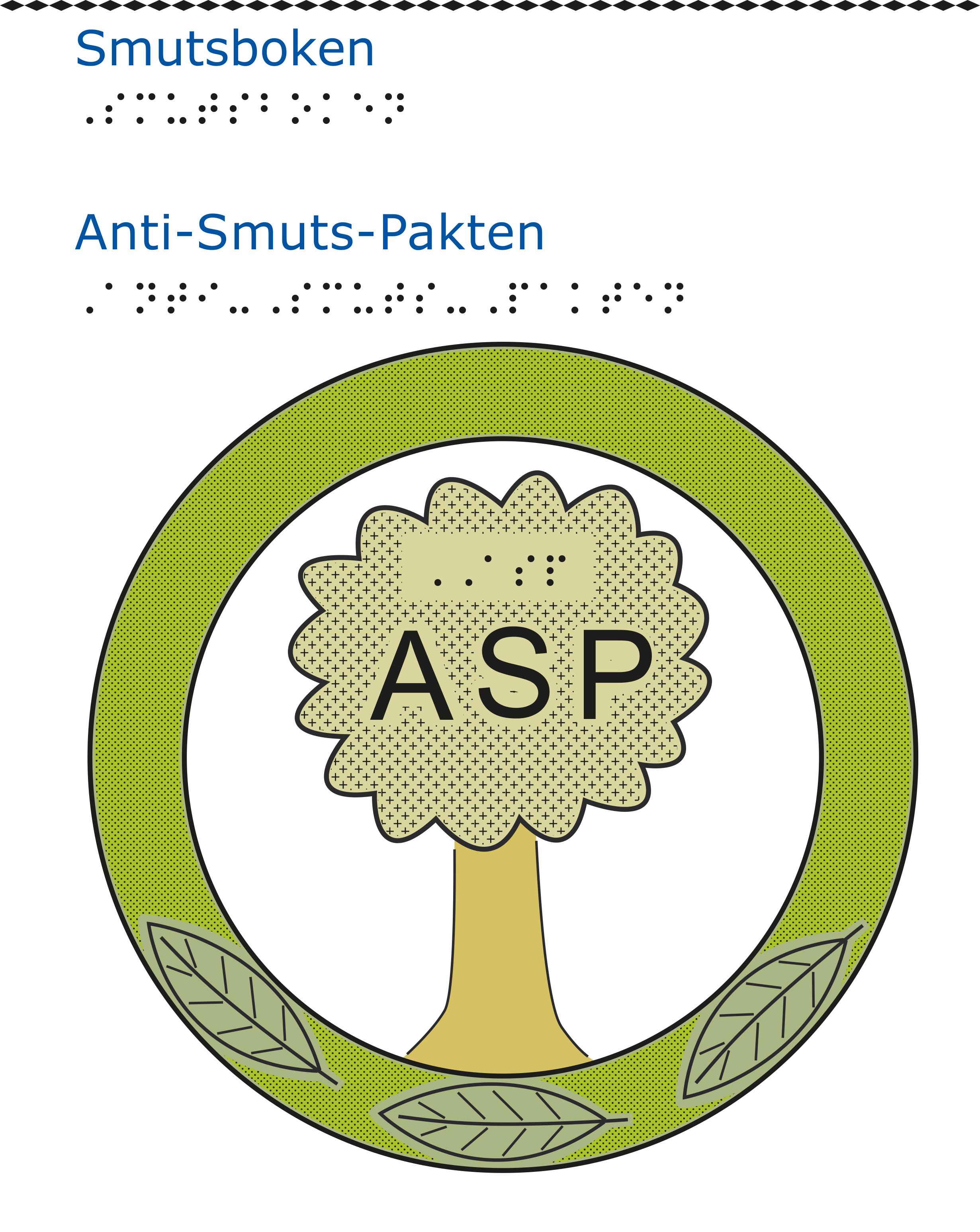 """Emblem bestående av en grön ring med tre löv på. Inne i cirkeln står en asp med ordet """"ASP"""" skrivet på trädkronan i versaler."""