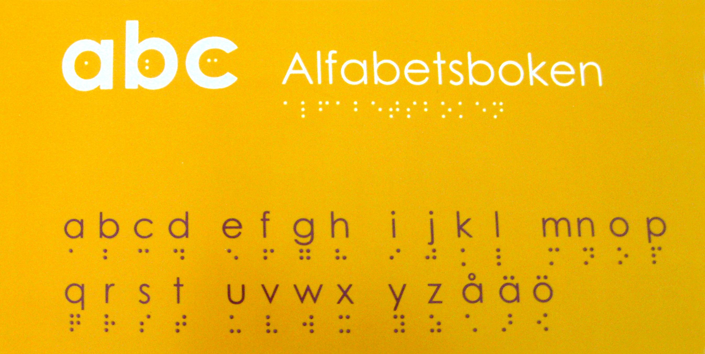 Omslag abc Alfabetsboken, gul bakgrund med alfabetets bokstäver i punktskrift.