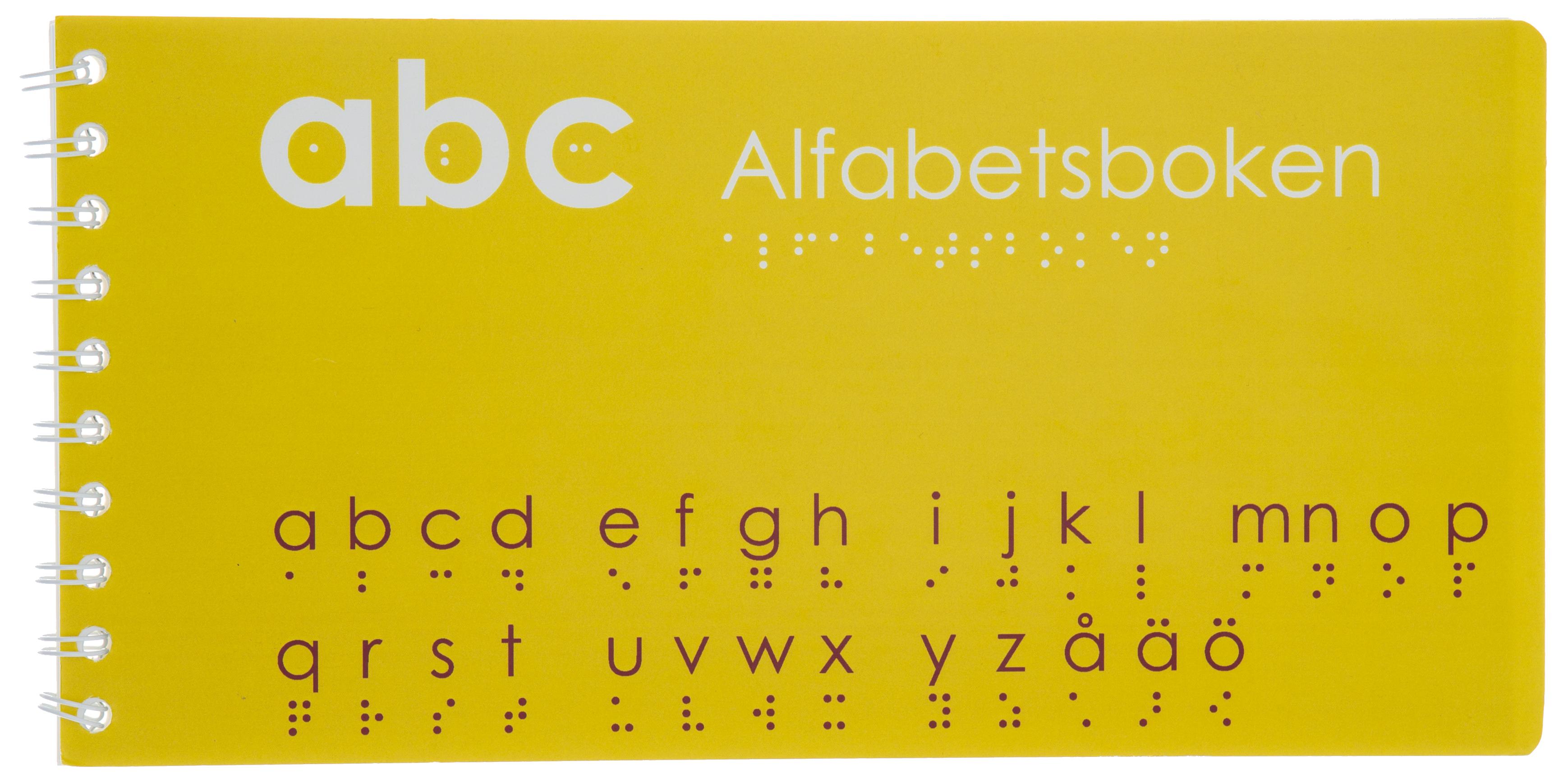 Alfabetet visas i punktskrift.