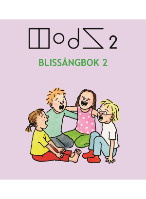 Fyra barn sitter i en halvcirkel och sjunger mot en ljuslila bakgrund.