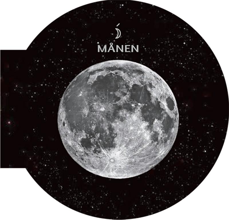 Månen omgiven av rymd och stjärnor.