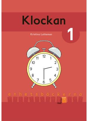 Omslag Klockan 1, röd bakgrund med en väckarklocka.