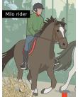 Glad pojke rider en häst.