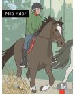 Glad pojke rider häst.