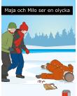 Flicka och pojke går på is mot en gammal människa som har halkat.
