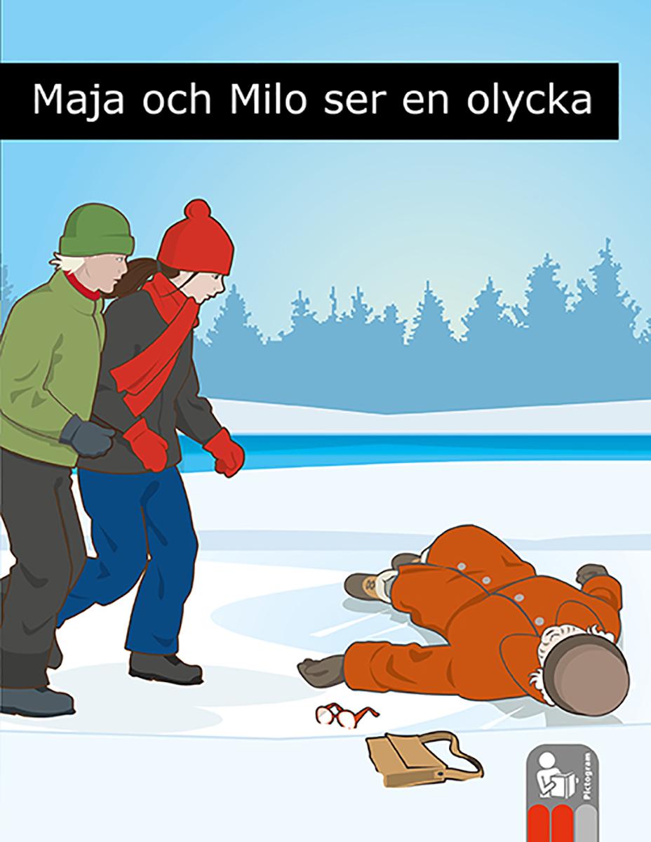 Flicka och pojke går på is mot gammal människa som har halkat.