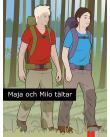 Flicka och pojke går i en skog med ryggsäckar.