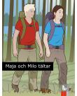 Flicka och pojke med ryggsäckar går i en skog.