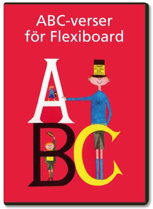 En lång pojke med cylinderhatt, en kort pojke med plommonstop och en tupp står bakom bokstäverna A, B och C i vitt, svart och gult, respektive. Bakgrunden är röd.