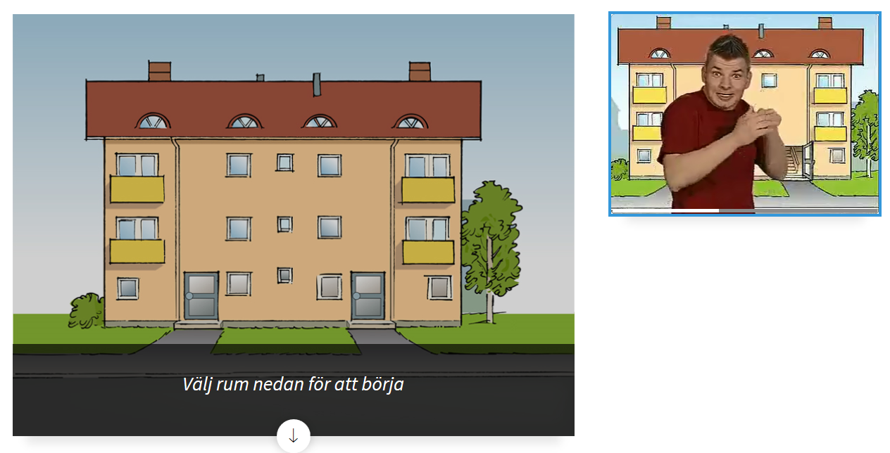 Två bilder. Ett flerfamiljshus och en bild på en man som tecknar.