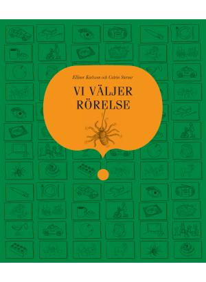 Omslag till Vi väljer rörelse, en grön bok med en tecknad spindel på.