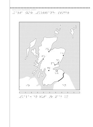 Karta över Skottland i svällpapper.