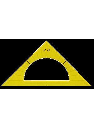Gradskiva i gul plast med punktskriftsmarkeringar.