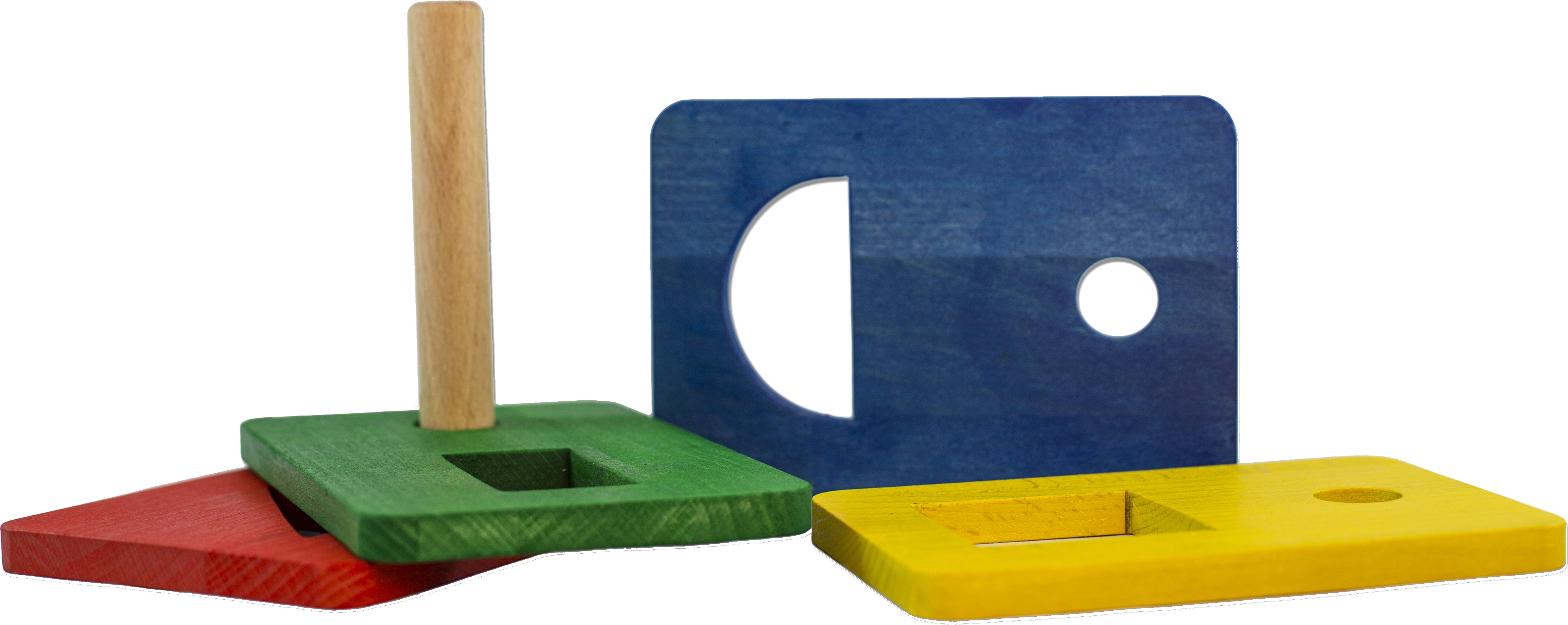 Fyra träbrickor med triangel, kvadrat, cirkel och rektangel utskurna samt en träpinne.