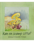 Tecknade svampar som sitter vid en stubbe.