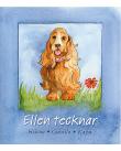 """En hund med halsband står på en gräsmatta. På halsbandet står det """"Ellen"""". Bakgrunden är blå."""