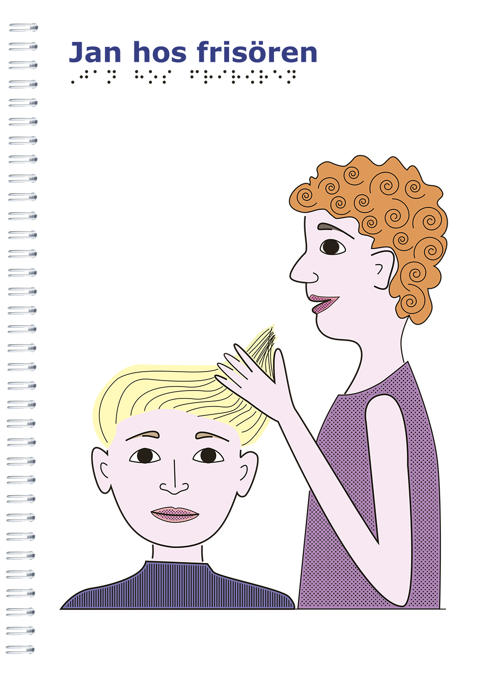 Pojke med blont hår blir friserad av en kvinna med rött lockigt hår. Vit bakgrund.