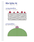 Vitt omslag med två tecknade tårtor på; en jordgubbstårta och en prinsesstårta.