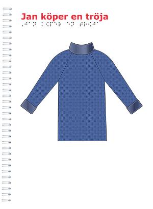 Vitt omslag med en blå tröja på.