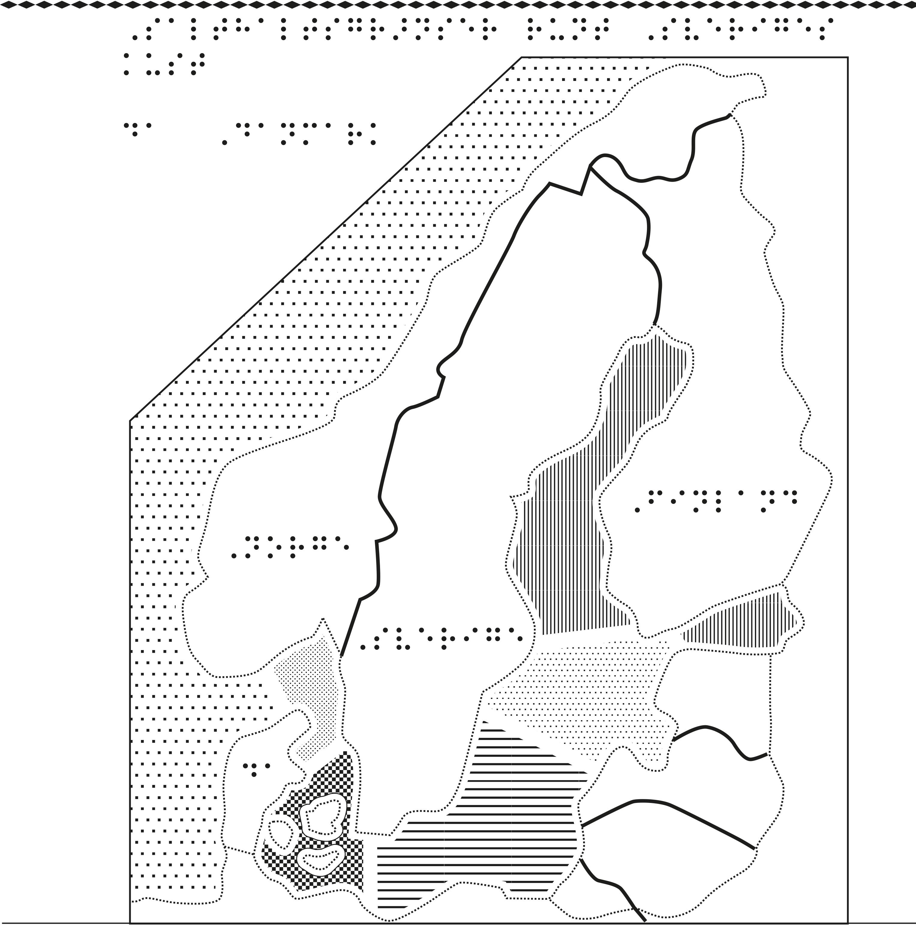 Karta av Skandinavien i relief med salthalter i havet särskilt markerade i punktskrift.