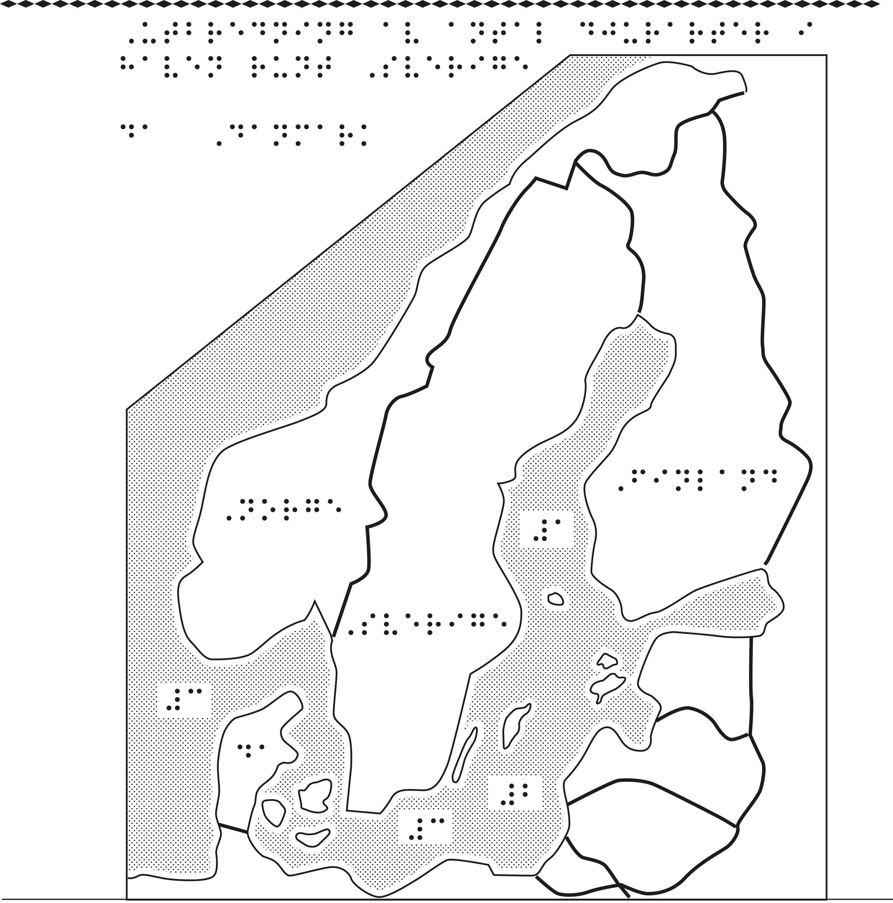 Karta av Skandinavien i relief med punktskrift.
