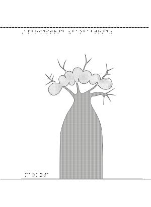 Ett apbrödsträd i relief sett från sidan.