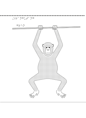 Taktil bild på en orangutang.