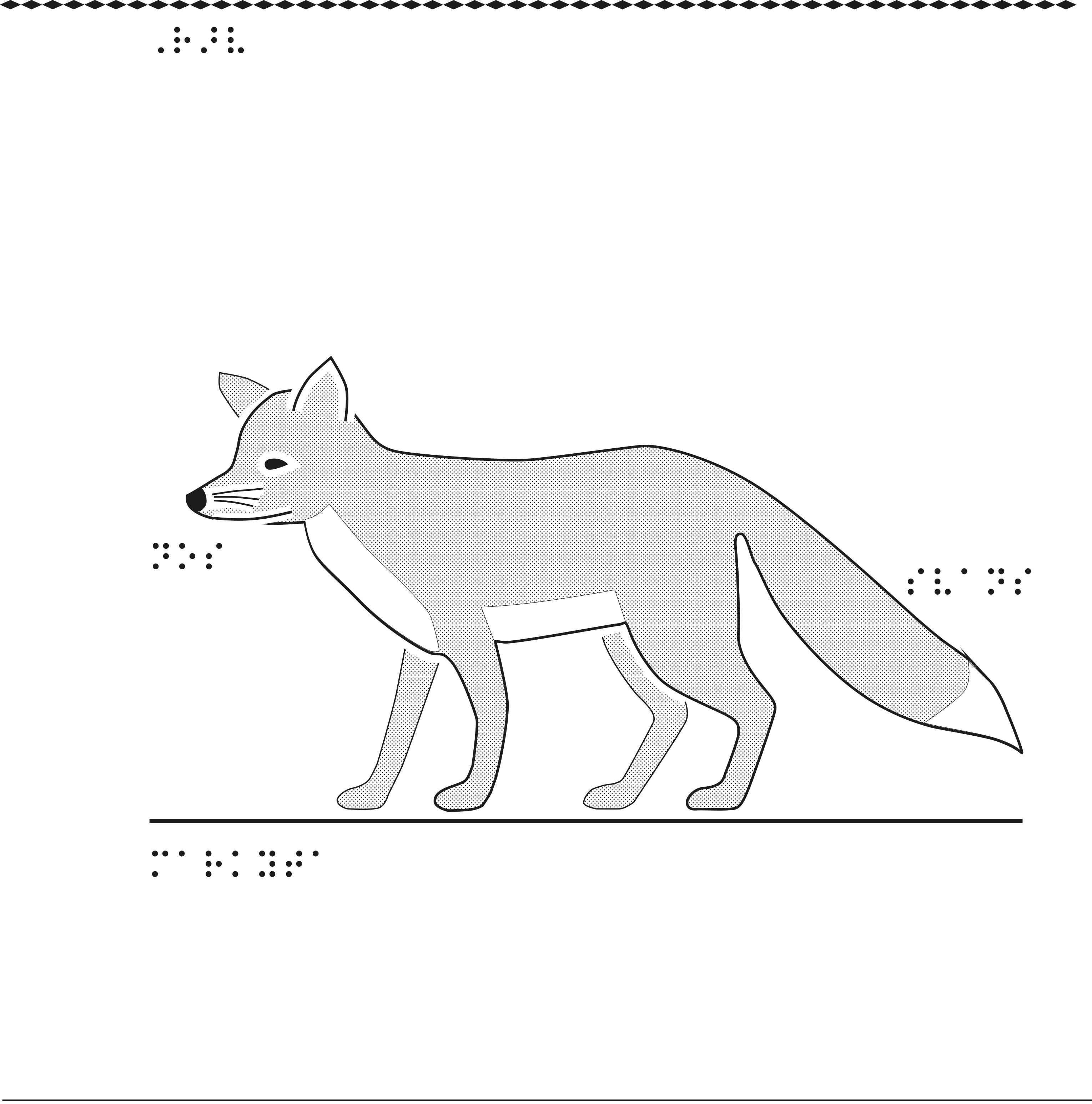 Taktil bild på en räv.