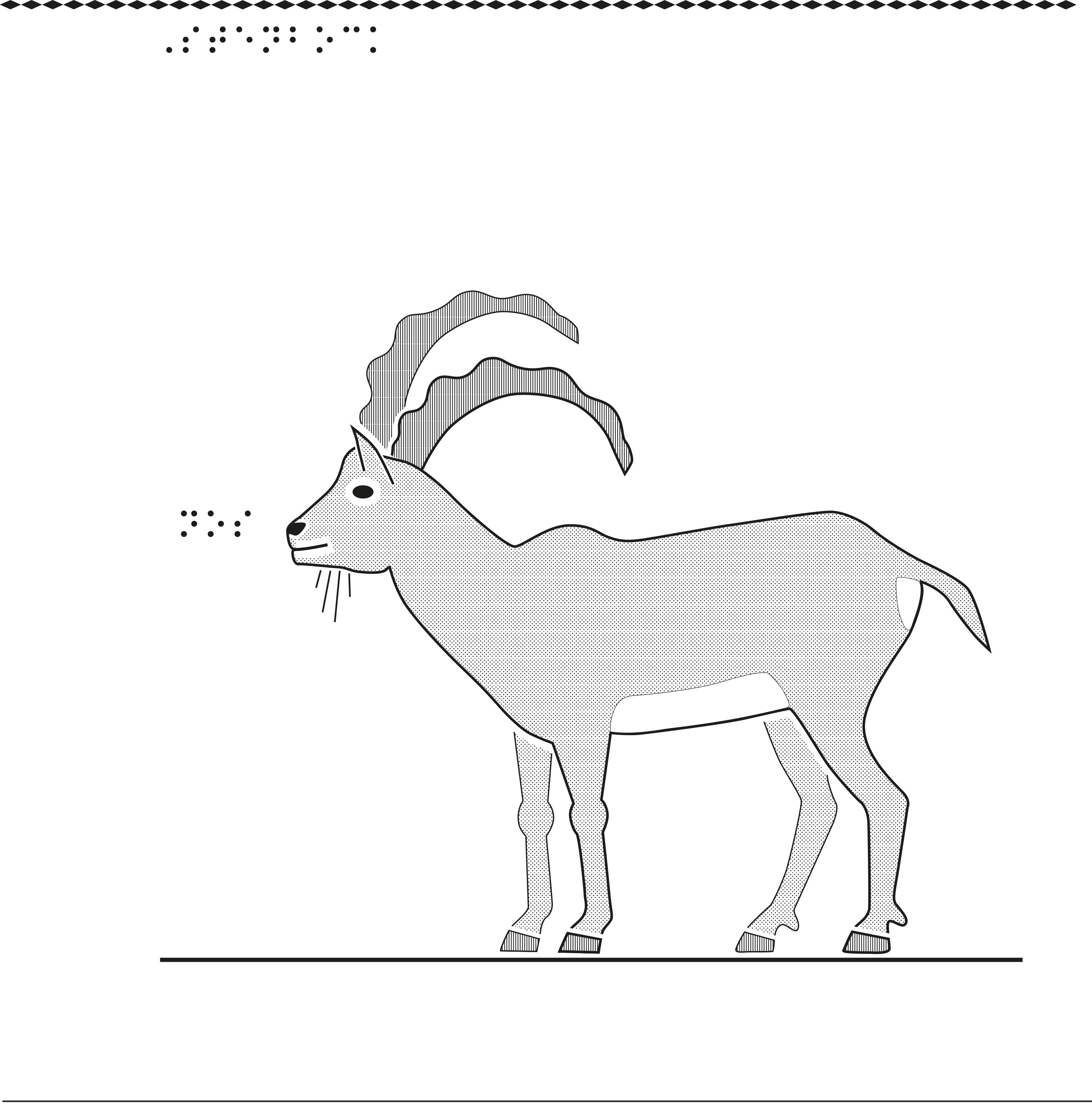 Antilop i relief.