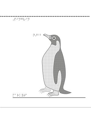 Taktil bild på en pingvin.