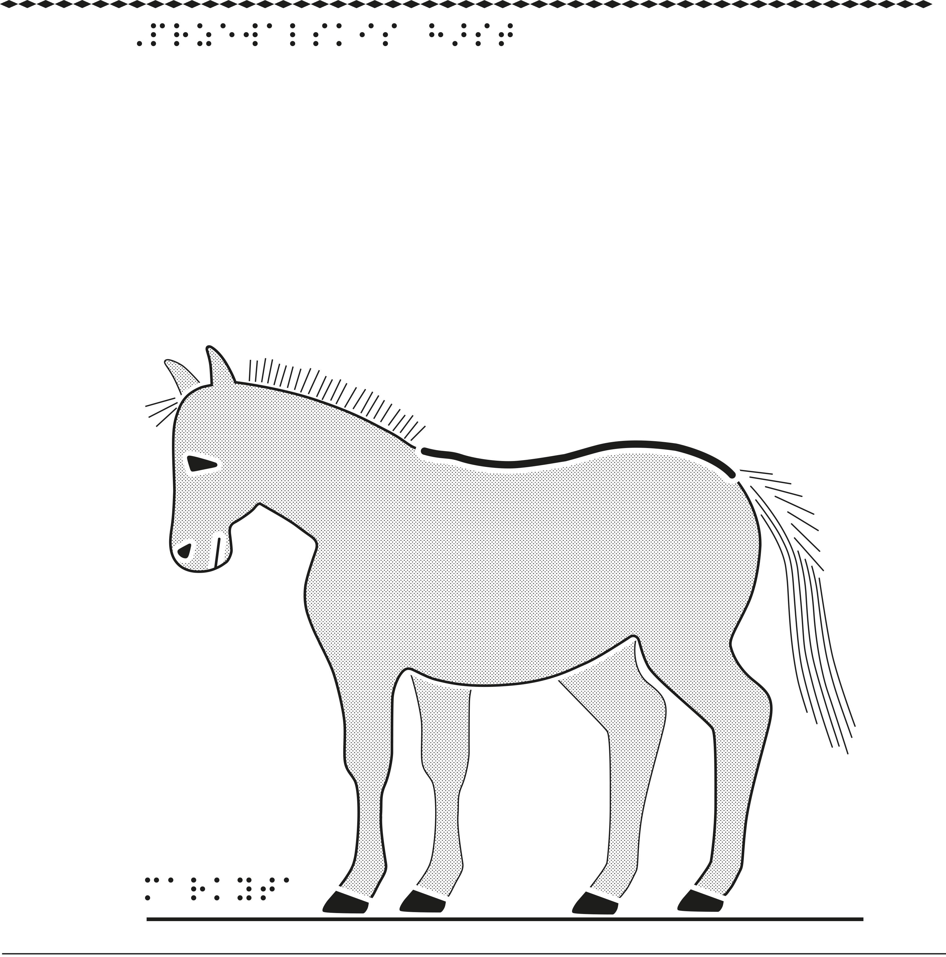 Häst i relief.