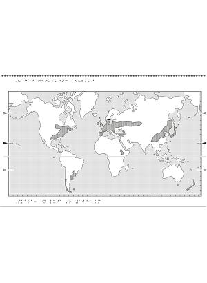 Världskarta i relief med lövskog markerat.