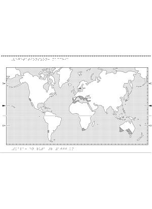Världskarta i relief med macchia markerat.